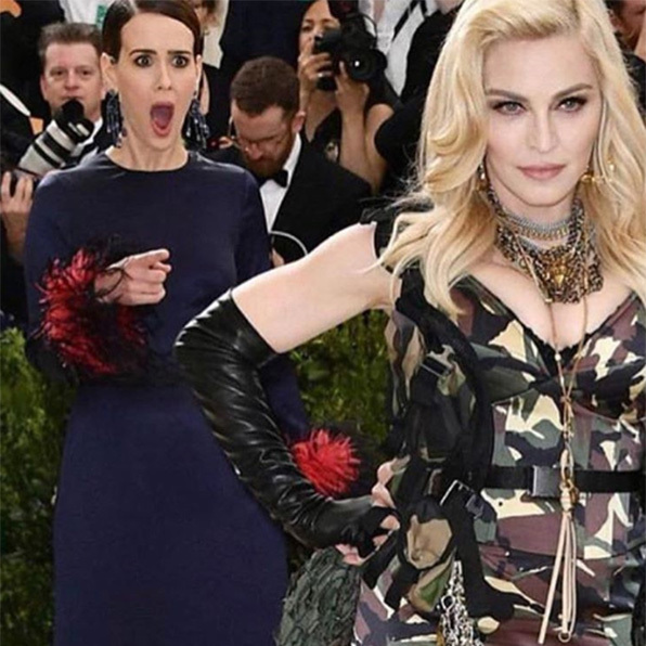 Sarah Paulson had a major fangirl moment after spotting Madonna on the red carpet. The actress was caught on camera pointing at the singer, her mouth agape, as the pair arrived for the high-profile fashion event. 