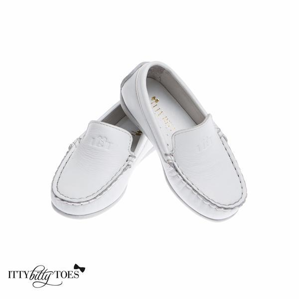 Itty Bitty loafers in White $116, ittybittytoes.com