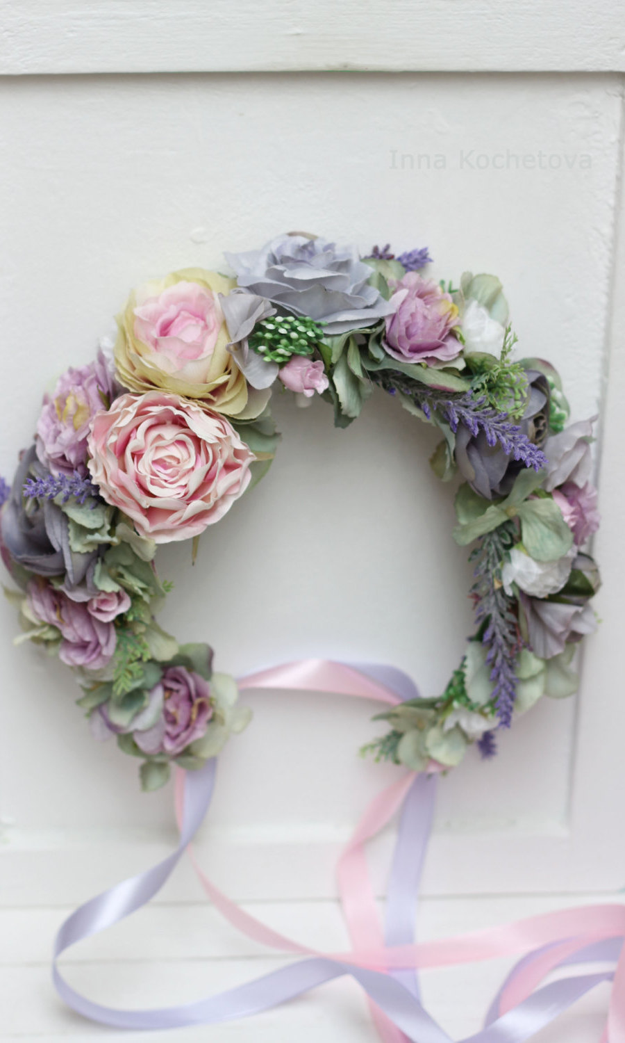 By Kotchetova Pink Lilac Flower Crown, $84, etsy.ca