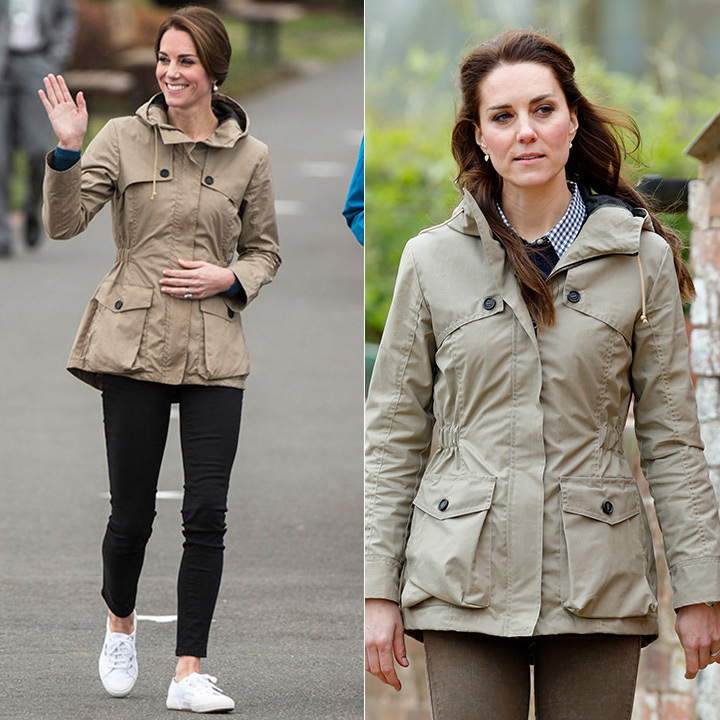 The Duchess of Cambridge looked casual and cool when she slipped into her wellies to spend the day on a farm in Gloucestershire on May 3 (R). Royal watchers were quick to notice that the mother of two was wearing the same Troy khaki safari jacket she wore back in September during the royal tour of Canada. This time, Kate left her hair down in loose waves and added a little sophistication to her comfy look with a gingham collared shirt. 