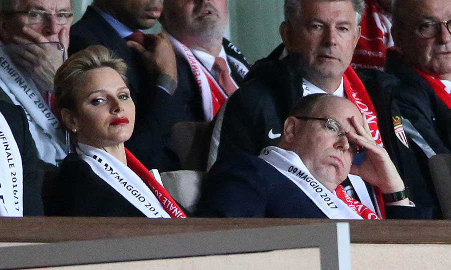 The agony of defeat! Seated next to his wife Princess Charlene, soccer fan Prince Albert of Monaco looked like he was feeling the pain of AS Monaco's hometown defeat against Juventus Turin on May 3.
