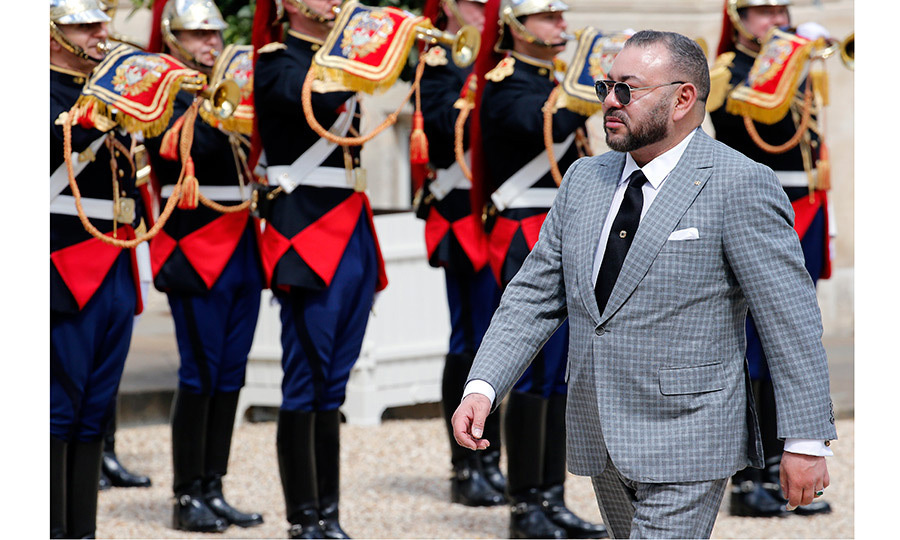 Moroccan King Mohammed VI was met with pomp and pageantry when he arrived for a meeting with French President Francois Hollande at the Elysee Palace on May 2.