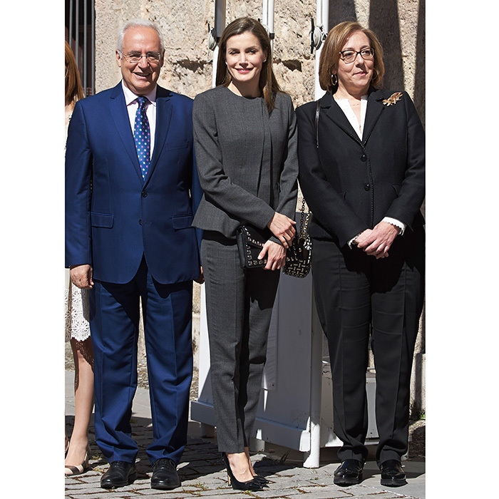 May 3: Queen Letizia of Spain was all business in a grey pantsuit at the inauguration of the 12th International Seminar of Language and Journalism in San Millan de la Cogolla, Spain. 