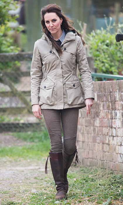 May 3: Catherine, Duchess of Cambridge dressed down in skinny jeans and her favorite boots for a visit to the Farms for City Children charity in Arlingham, Gloucestershire, England. 