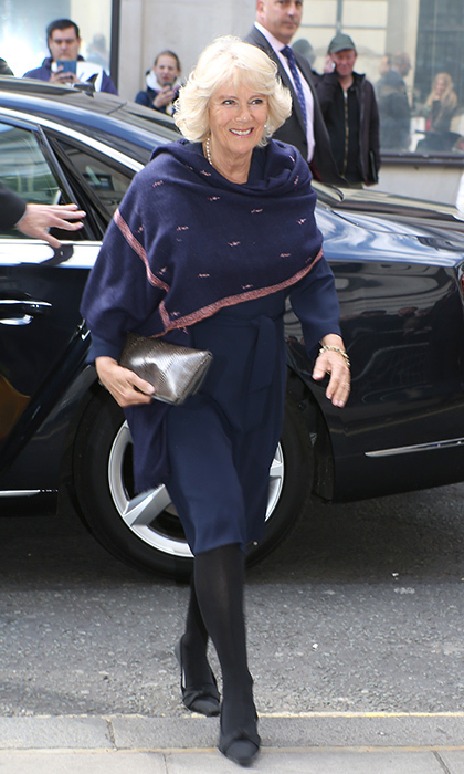 May 5: Camilla, Duchess of Cornwall accessorized with a pink and navy scarf for the cool weather as she arrived at BBC Radio 2 Studios in London, England. 