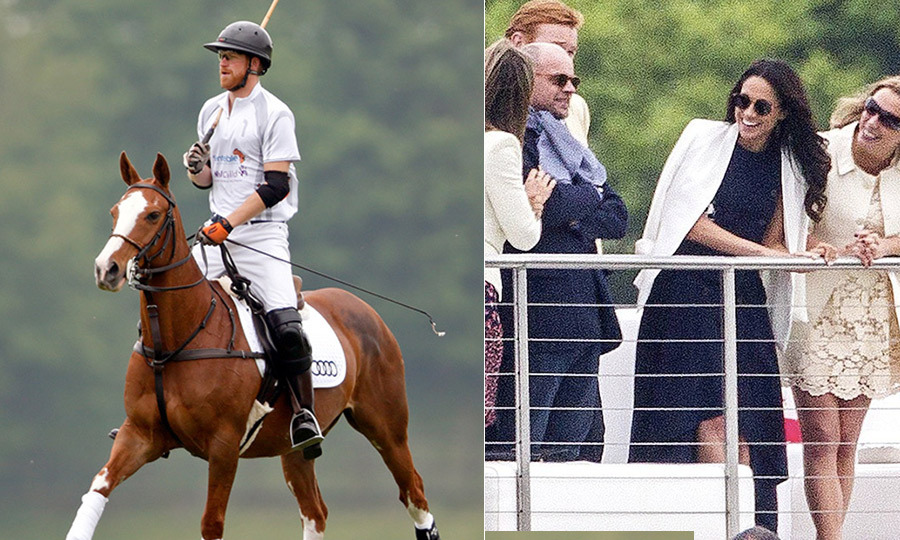 Prince Harry had a very special cheerleader on the sidelines as he played in Audi's annual Polo Challenge in Berkshire on May 7/8. Meghan, dressed in an elegant Antonio Berardi dress and Aritizia blazer, watched her beau in action from the royal box. 