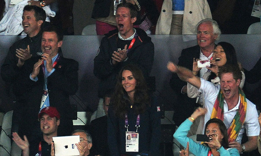Prince Harry along with Prince William and Kate Middleton cheered Usain on during the 2012 London Olympics. 
