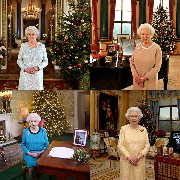 "<p><strong>Buckingham Palace</strong></p><p><strong><a href=""/tags/0/the-queen/"">The Queen</a></strong>'s official royal residence where she spends the majority of the year, Buckingham Palace, has hosted many a Christmas broadcast over the years. From left to right, Her Majesty poses in the palace's White Drawing Room, the Music Room, the 1844 Room and lastly seated in the Regency Room.</p><p>Photo: &copy; Getty Images</p>"