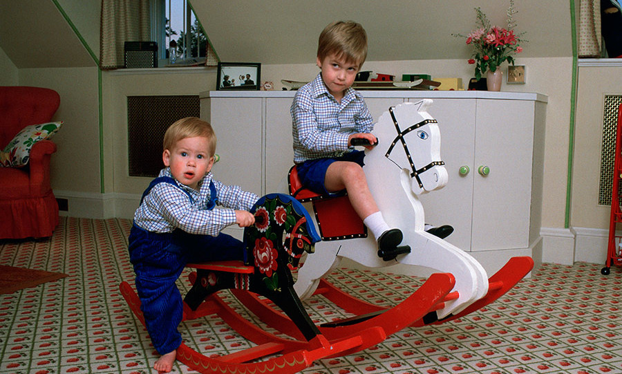 <p><strong>Kensington Palace</strong></p><p>Another intimate family portrait taken around the same time at Kensington Palace&nbsp;showed William with his younger brother Harry, aged one, sitting&nbsp;on rocking horses in their playroom.&nbsp;</p><p>Photo: &copy; Getty Images</p>