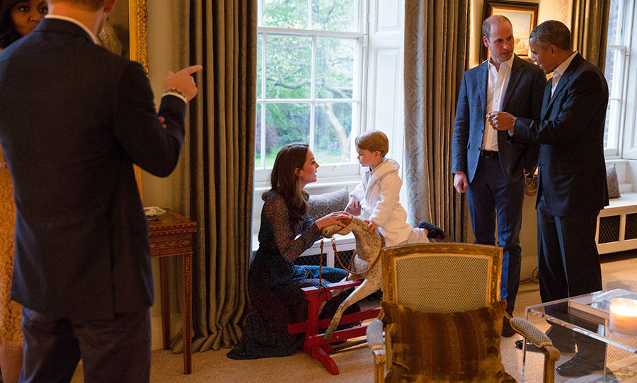 "<p><strong>Kensington Palace</strong></p><p>Before sitting down for dinner, <strong><a href=""/royalty/02016042225787/prince-george-wears-robe-and-slippers-to-meet-president-obama-michelle-obama/"">the Obamas met Prince George</a></strong>, who had stayed up a bit later than usual to greet Barack and Michelle. Wearing pyjamas and a dressing gown, George sweetly played with his rocking horse which was positioned to one side of the drawing room, overlooking the palace gardens.</p><p>At the time, a Kensington Palace spokesman said: ""Prince George stayed up to meet The President and First Lady when they arrived at Kensington Palace. He was able to show The President and First lady a rocking horse &ndash; given to George when he was born &ndash;&nbsp;and a stuffed toy &ndash; given to George when Princess Charlotte was born &ndash;&nbsp;that had been previously given to him by President and Mrs Obama.""</p><p>Photo: &copy; Getty Images</p>"