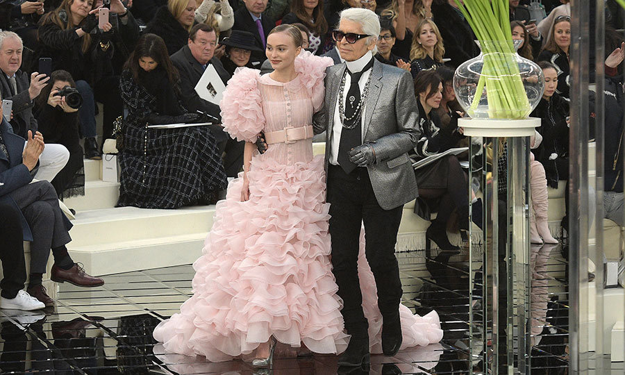 Lily-Rose poses with Karl Lagerfeld on the close of the Chanel S/S 2017 runway show.