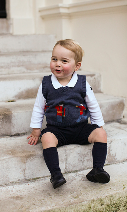 Prince George wore a Cath Kidston vest for his second birthday photoshoot.