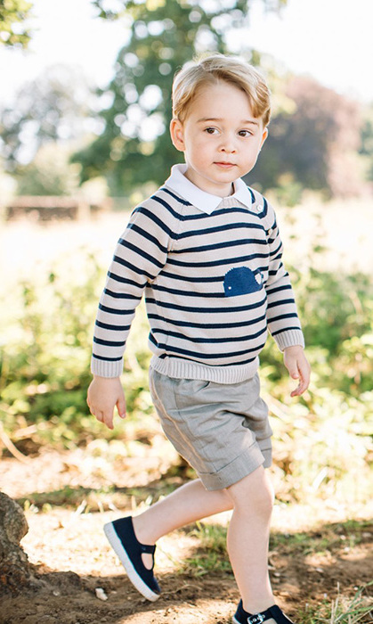 For his third birthday photoshoot, George wore a whale motif jumper by Pepa and Co.