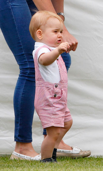 When he was a toddler, Kate used to dress George in dungarees. Pictured here at the polo on Father's Day.