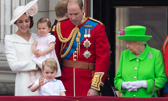 The royal family pictured at Trooping the Colour in 2016.