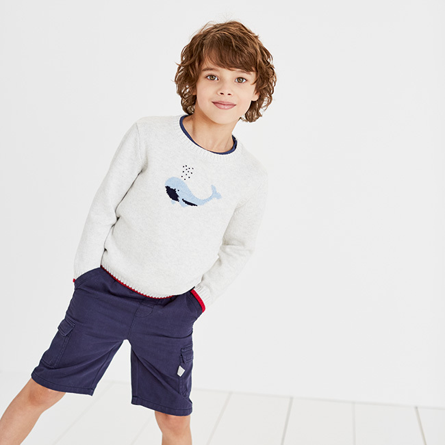 The Little White Company's Whale Motif Jumper (1-6yrs) - retails at £30.00.