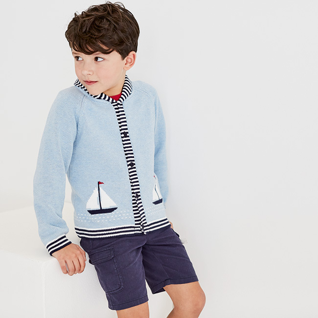 The Little White Company's Sailboat Knitted Cardigan (1-6yrs) retails for £34.00.