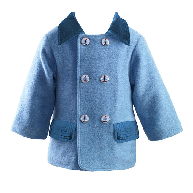 Sailboat Button Coat: Classic double breasted coat, with corduroy trimmed pockets and collar. Finished off with adorable, Sailboat printed buttons. £119.00