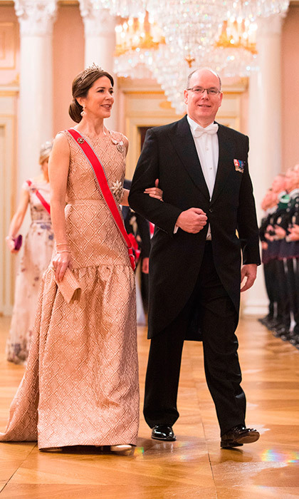 Prince Albert of Monaco escorted Crown Princess Mary to the birthday dinner. His wife Princess Charlene stayed home to care for their twins Prince Jacques and Princess Gabriella. 