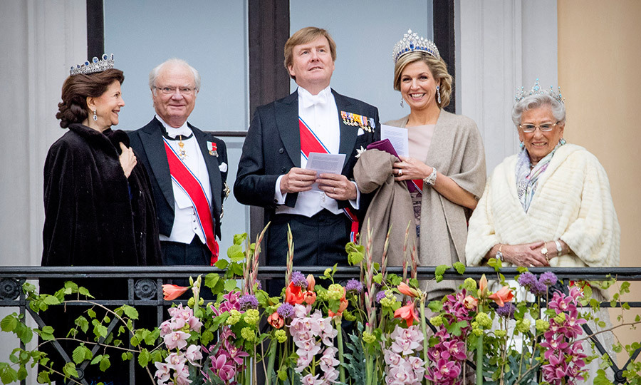 Despite the chilly temperature in Oslo, King Carl Gustaf and Queen Silvia of Sweden, King Willem-Alexander and Queen Maxima of The Netherlands and Princess Astrid of Norway joined the king and queen on the balcony of the Royal Palace.