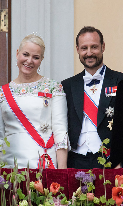 Norway's Princess Mette-Marit and Prince Haakon were all smiles on the balcony. 