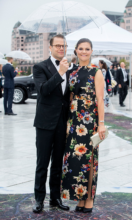 Princess Victoria slipped into an elegant floral gown for the reception. 