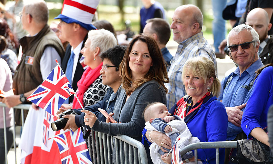 The crowd await for the Duchess of Cambridge at MUDAM (Musze d'Art Moderne) during a day of visits in Luxembourg where she is attending commemorations marking the 150th anniversary 1867 Treaty of London, that confirmed the country's independence and neutrality.