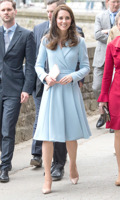 Kate wore a new Emilia Wickstead coat with long sleeves and a full, subtly pleated skirt for her day trip to Luxembourg on May 11. 