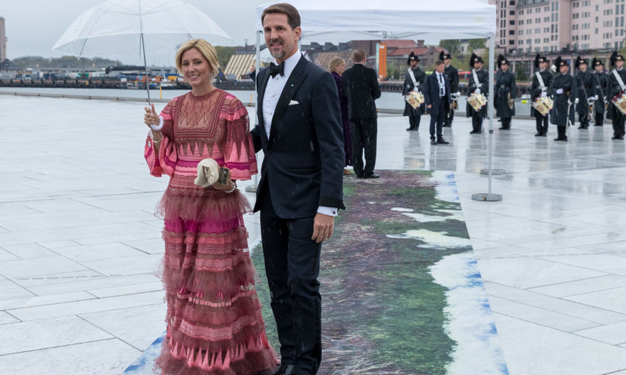 Princess Marie Chantal wore one of her go-to favourites, Valentino for the 80th birthday celebration of King Harald and Queen Sonja.