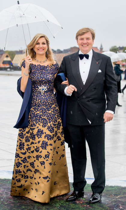 Queen Maxima recycled her navy and gold Claes Iversen gown to attend the opera in Oslo.