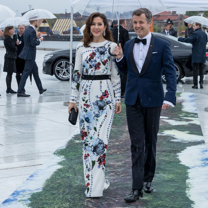 Crown Princess Mary stunned in one of the Duchess of Cambridge's favourite designers - Erdem. 