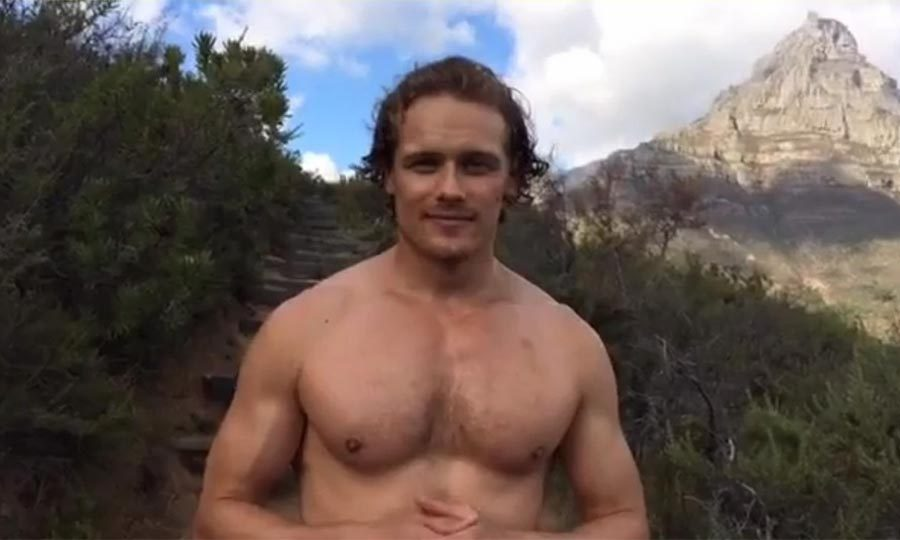 Outlander S Sam Heughan Goes Shirtless For A Very Good Cause Hello Canada