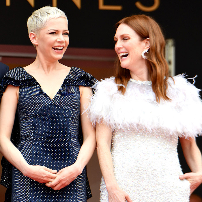 Actresses Michelle Williams and Julianne Moore shared a laugh at the premiere of their film <em>Wonderstruck</em>.