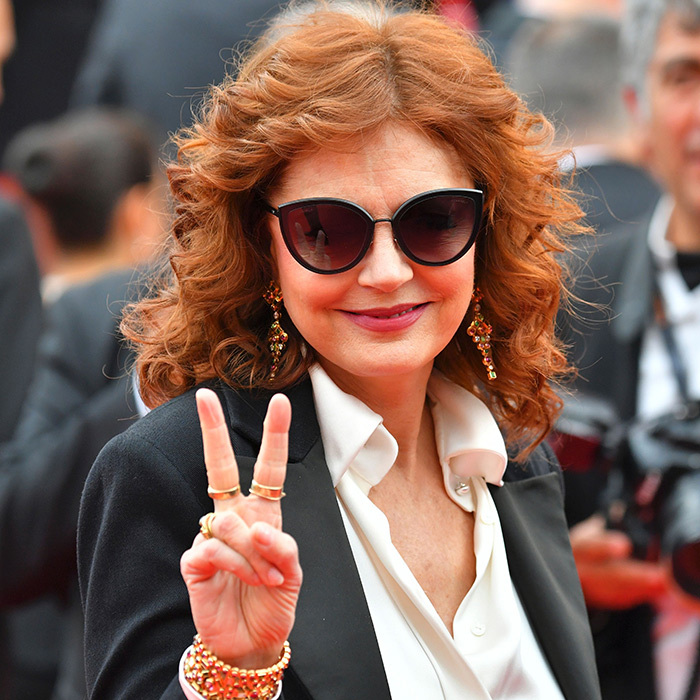 Susan Sarandon spread peace and joy on the red carpet at the premiere of <em>Loveless (Nelyubov)</em>. 