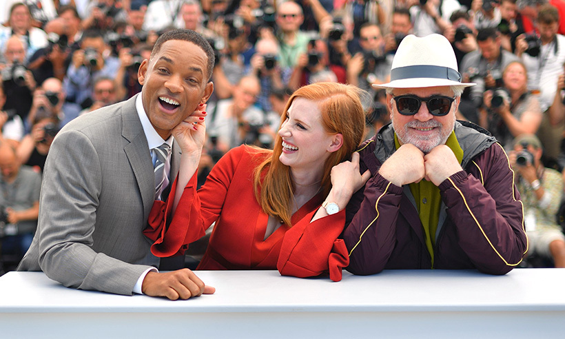 Jury members Will Smith and Jessica Chastain are having a ball in the south of France. Here they goof around during a photocall with Spanish director and President of the Feature Film Jury Pedro Almodovar. 