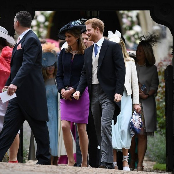 Prince Harry had a huge smile as he left the church grounds. The royal was set to meet up with his girlfriend Meghan Markle, who flew in from Toronto for the wedding day.