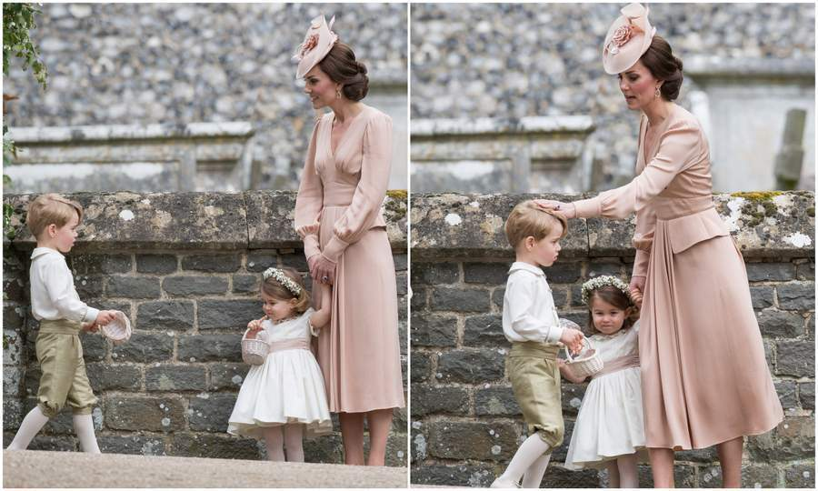 Duchess Kate was spotted looking after George and Charlotte who'd had a big morning playing major roles in the high profile nuptials.