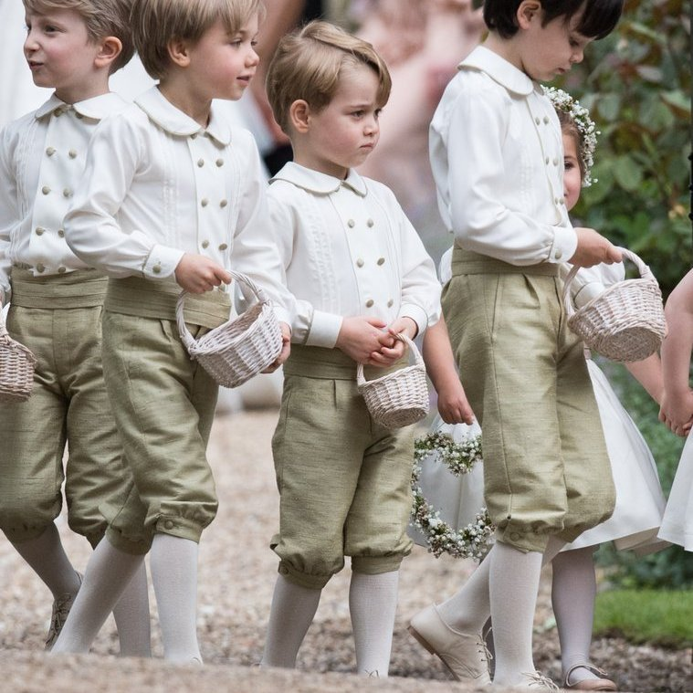 Prince George and the page boys patiently awaited their next steps after the ceremony.