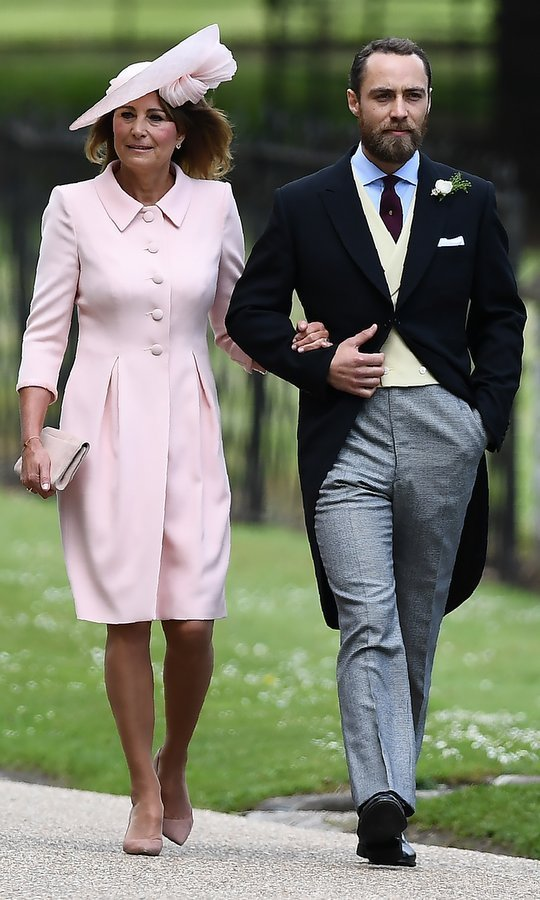 James Middleton escorted his mother Carole to the ceremony. 