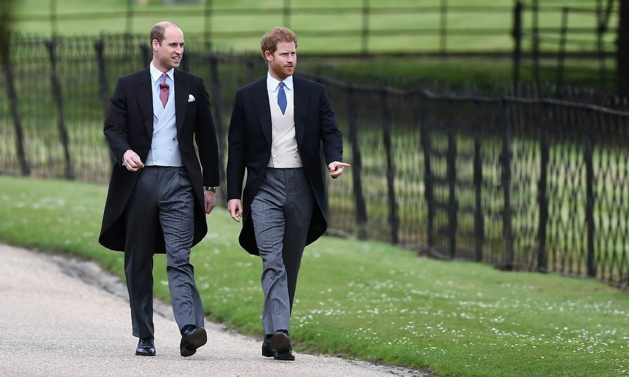 Royal brothers Prince William and Prince Harry were dapper – albeit without their dates, the Duchess of Cambridge and Meghan Markle – as they headed up to St Mark's Church.