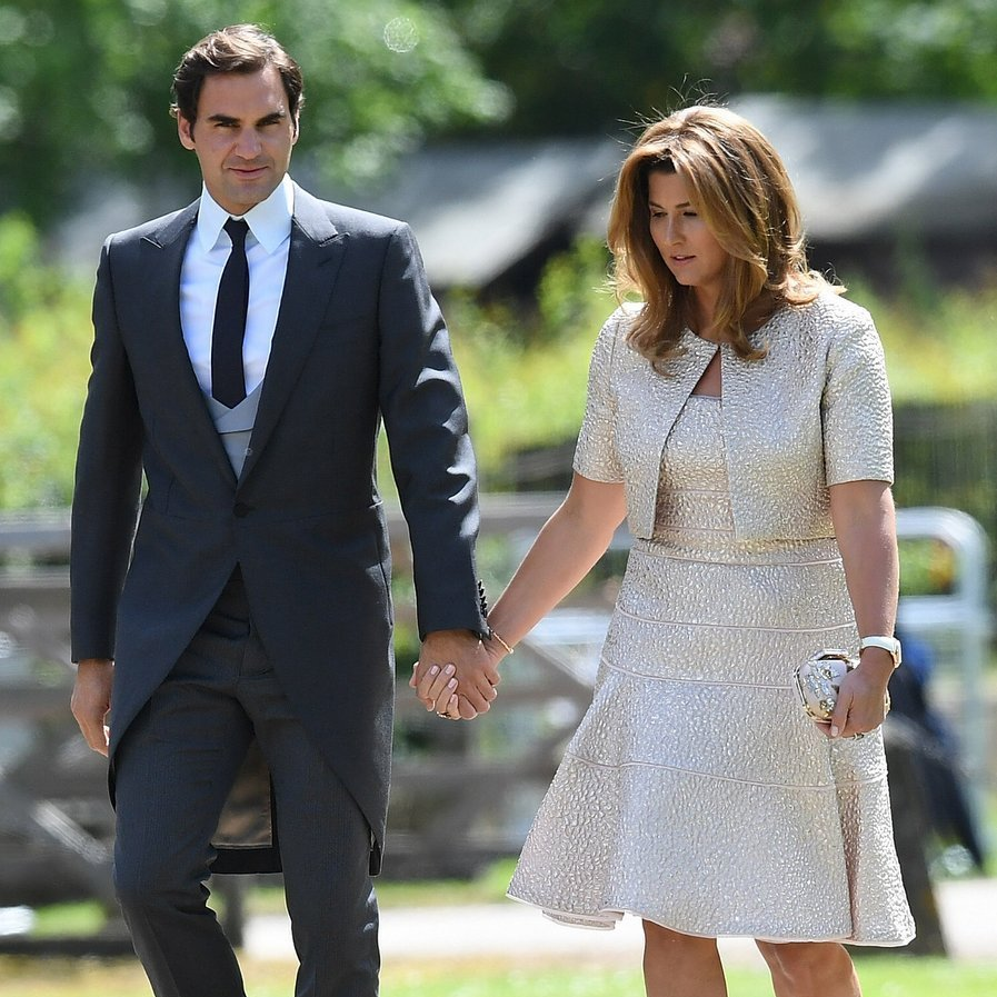 Tennis champ Roger Federer walked up to St Mark's church hand-in-hand with his wife, Mirka.
