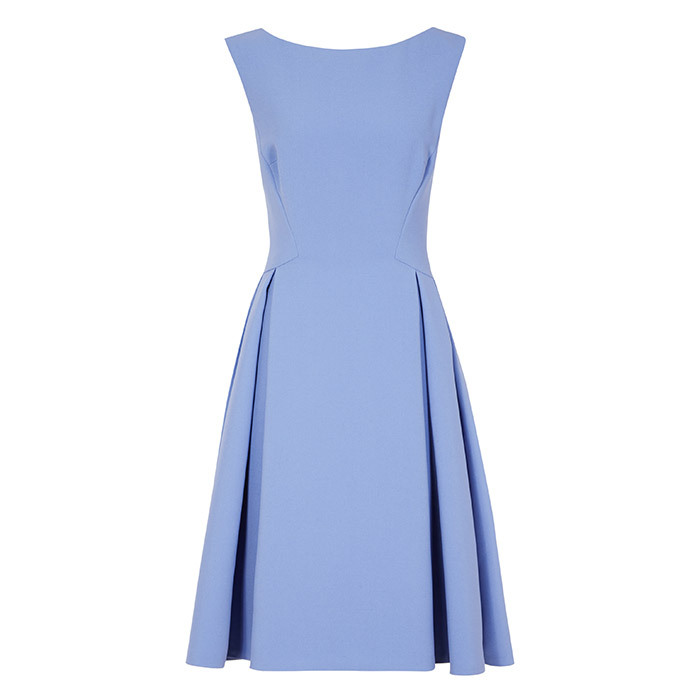 <p>Eri Low-Back Fit and Flare Dress in Deep Sky, $425, <em>reiss.com</em></p>