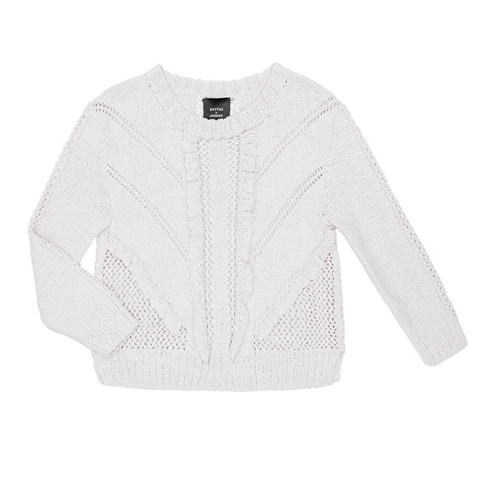 <p>Handknit Ruffle Sweater in White, $425, <em>shopsmythe.com</em></p>