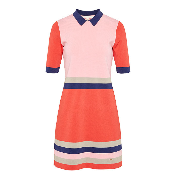 <p>Colour by Numbers Origami Colour-Block Knitted Dress in Red, $295 <em>tedbaker.com</em></p>