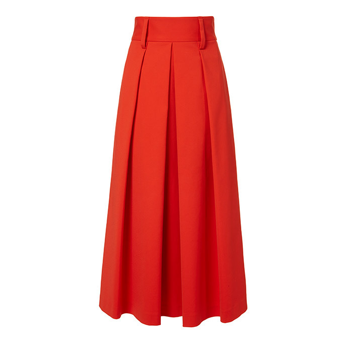 <p>Agathe High-Waisted Skirt in Vermillion Red, $815, <em>tibi.com</em></p>