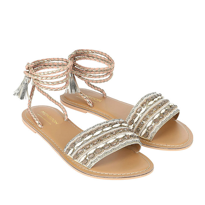 <p>Janelle Embellished Lace Up Sandal, $108, us.<em>monsoon.co.uk</em></p>