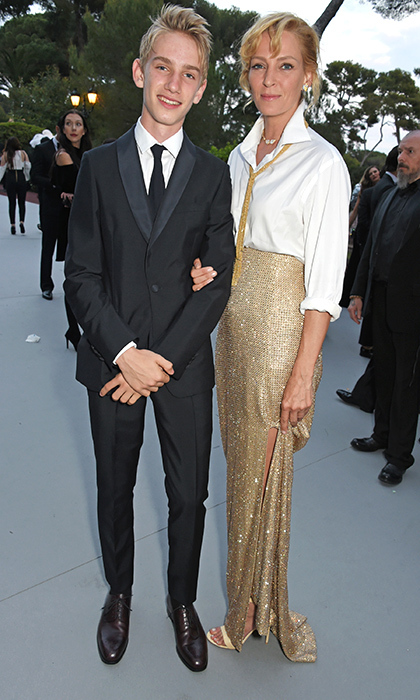 Uma Thurman and her son Levon