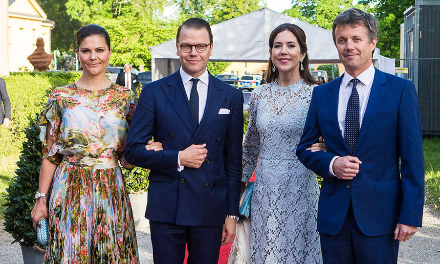 It's a royal style summit! Sweden's Princess Victoria and  Prince Daniel and Denmark's Crown Princess Mary and Crown Prince Frederik were a fashionable foursome at an official dinner at Eric Ericssonhallen on May 29 in Stockholm.