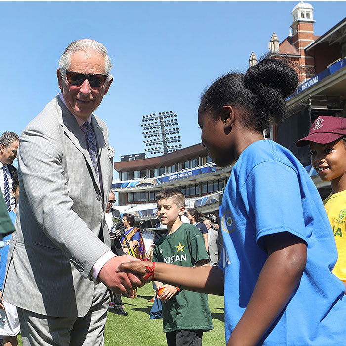 Prince Charles met young cricket players during the launch of the ICC Champions Trophy 2017 at the The Oval in London on May 25.