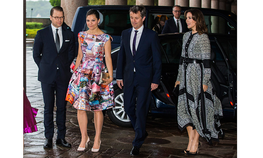 Stockholm city hall was the scene for a couples' date night for, left to right, Prince Daniel and Princess Victoria of Sweden alongside their guests Frederik and Mary of Denmark on May 30. 